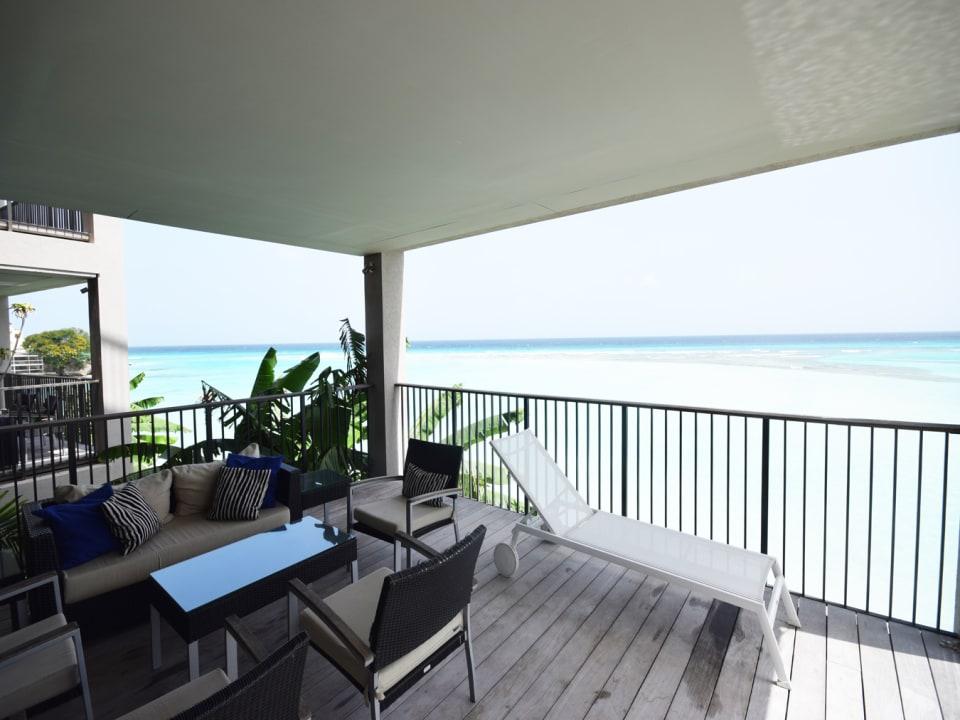 Patio with sea views