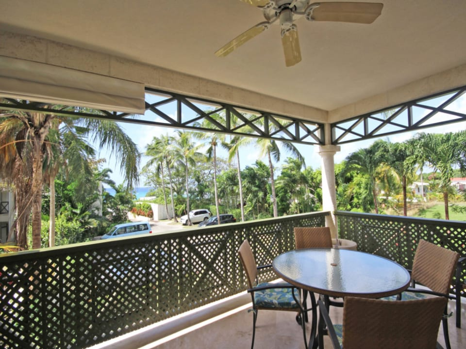 Patio with views of the sea at Mullins Beach