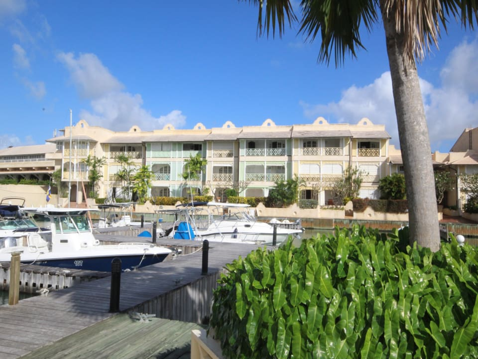 View of the condo block from the pool