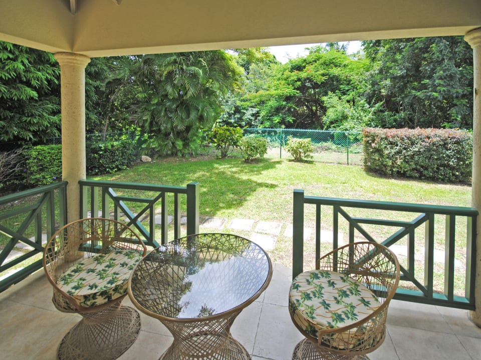 Terrace of main bedroom with views of garden and gully