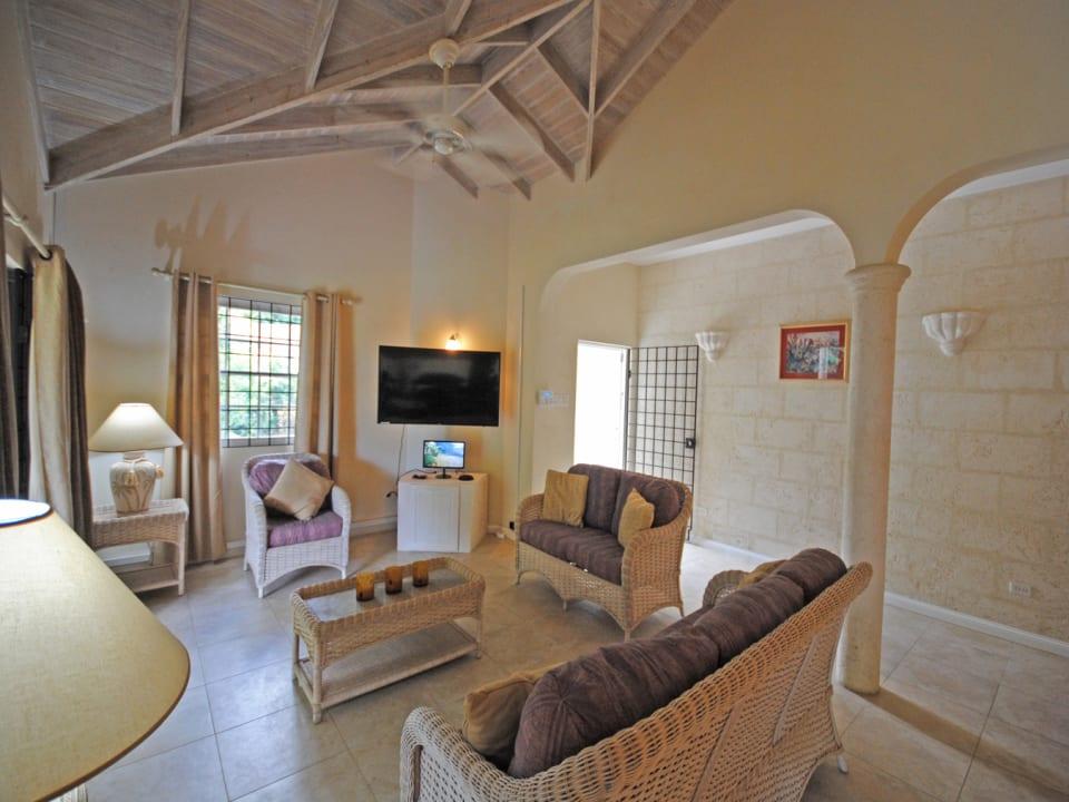 Living room opens to veranda