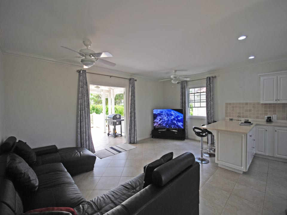 Living room and open plan kitchen