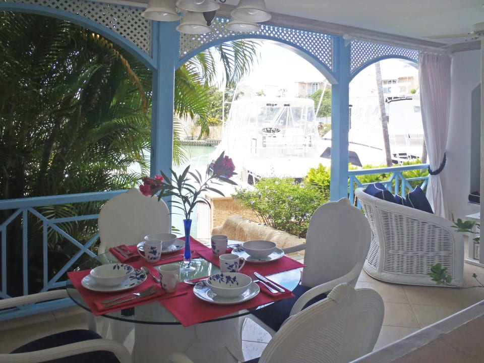 View of dockside and marine from dining area