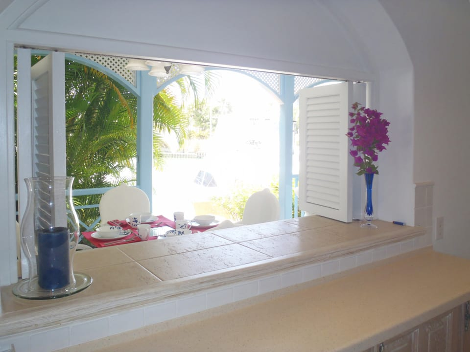 View from kitchen to verandah and marina