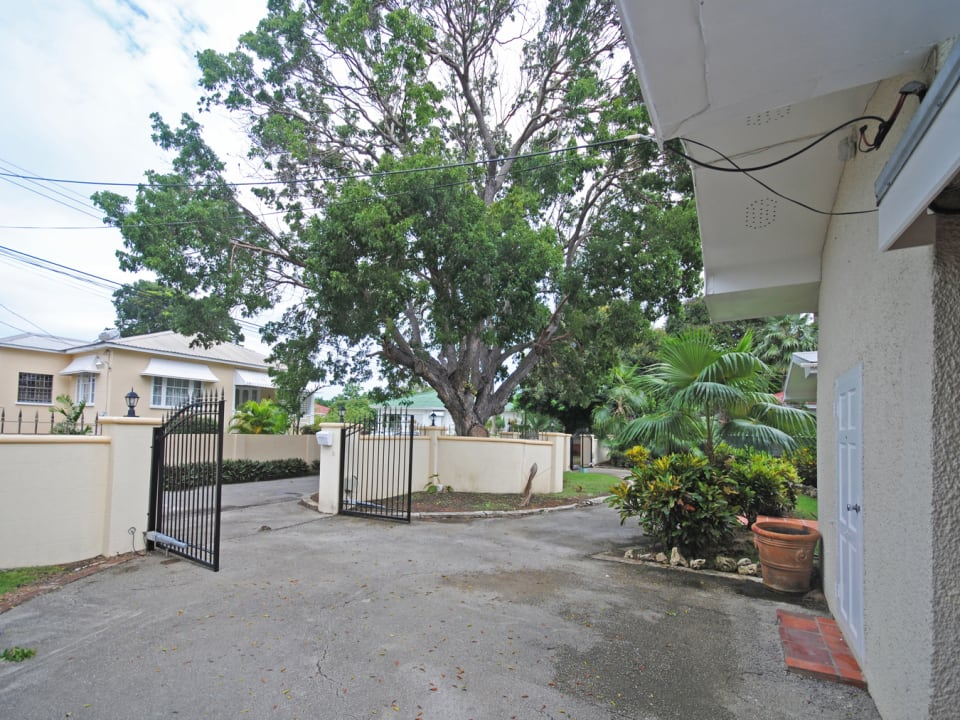 Double driveway with electric gates
