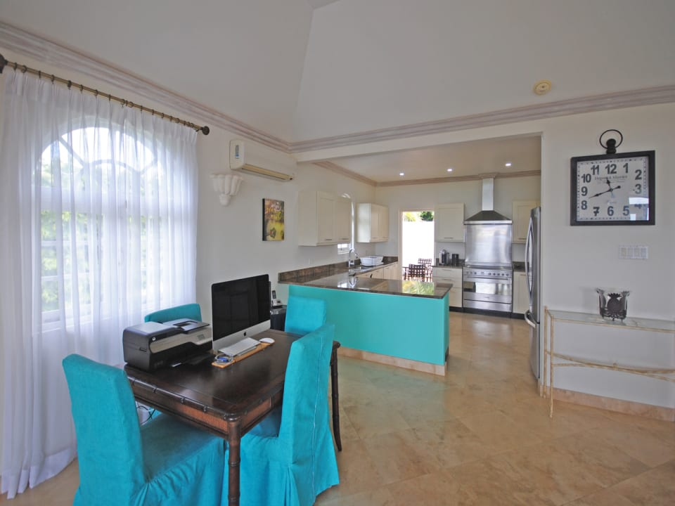 View of the well equipped kitchen from living room