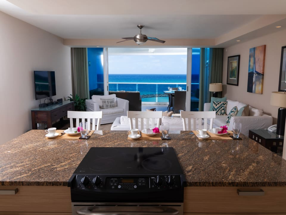 Open plan living with stunning views of the Caribbean Sea