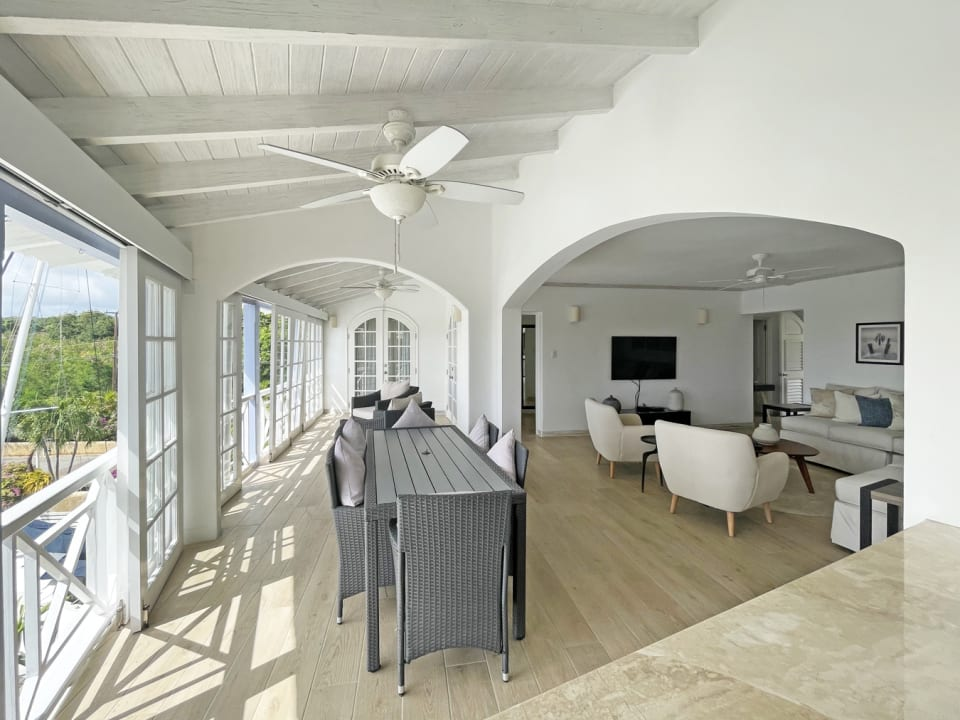 View of the open plan living and ding area