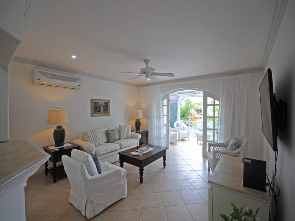Open plan living room opens to terrace