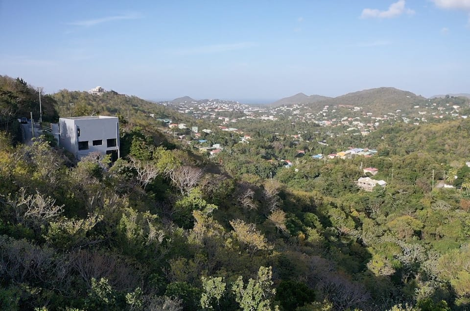 View from the top, looking out into Rodney Bay & the Caribbean Sea