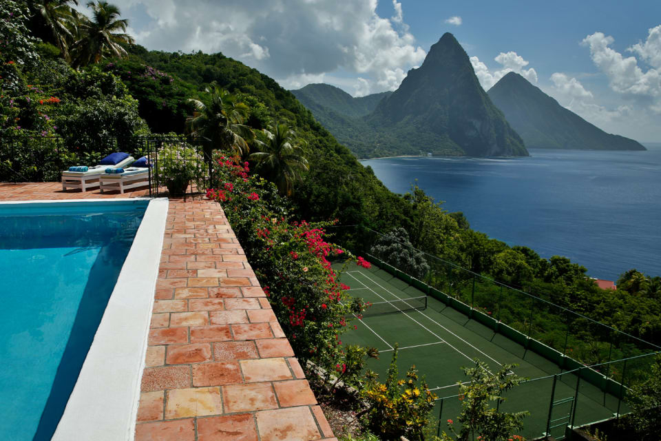 View of the Piton - Pool & Tennis Court