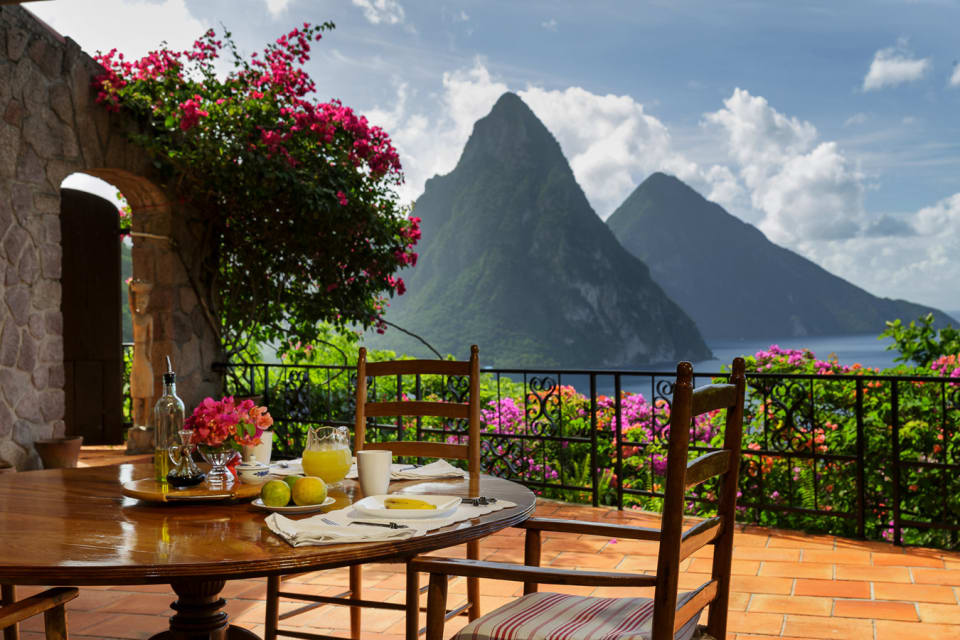 Patio overlooking The Pitons