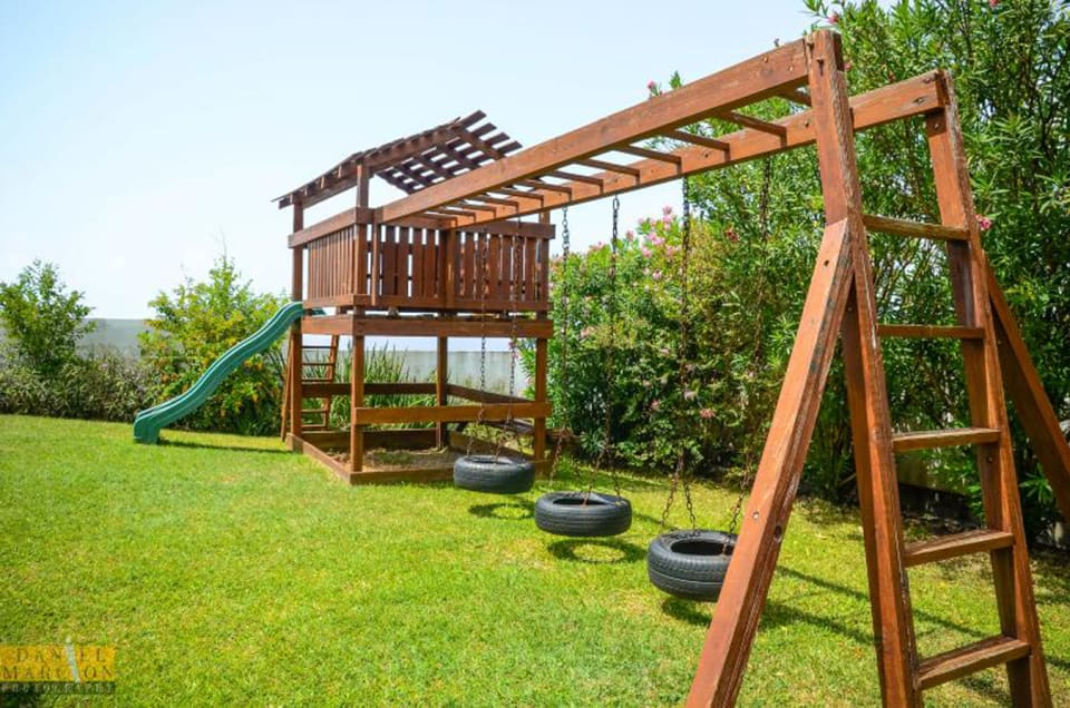 Front yard with playground