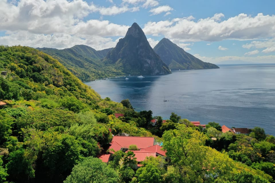 View of the Pitons from Mango Point