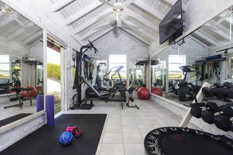 Restored Baracks housing a gym, infrared sauna and a pool changing/restroom facility