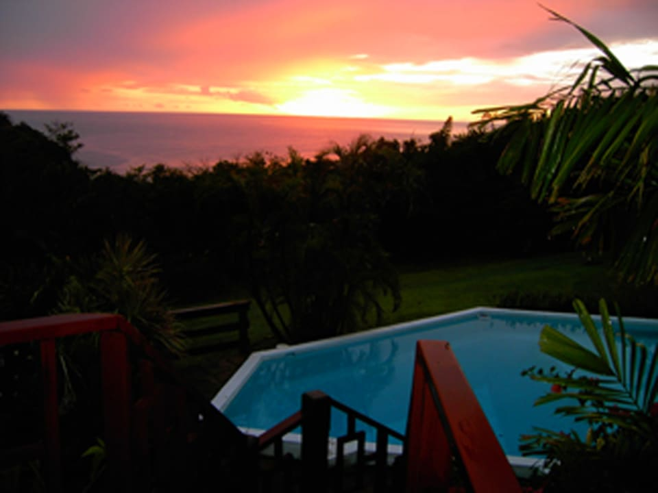 Patio View overlooking Pool and Sunset