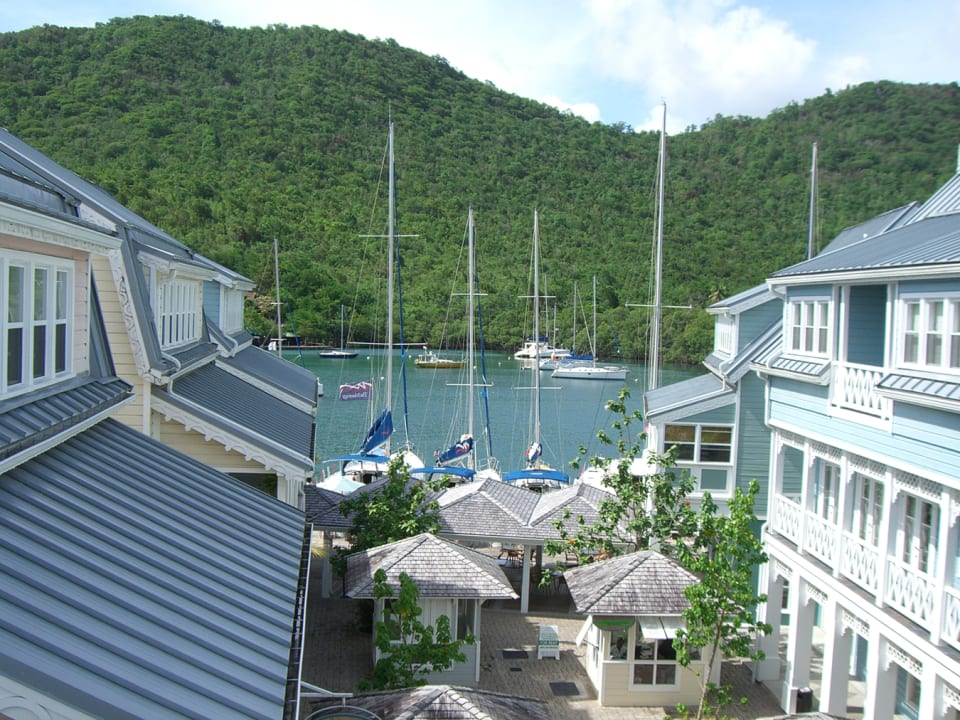 Overlooking the courtyard and bay