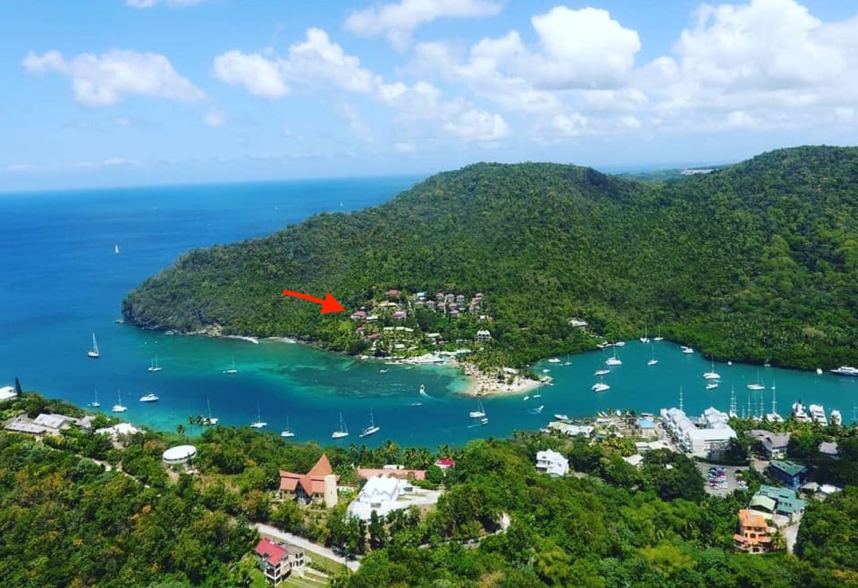 Aerial View of Poinsettia House at Marigot Bay