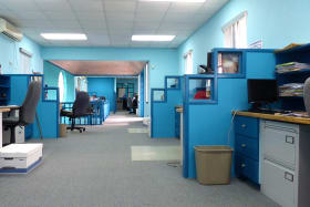 Office area with partial cubicles