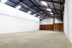 Open plan warehouse with skylights