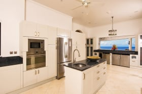 Large modern kitchen with a view