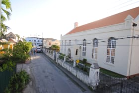 View of Methodist Church from balcony looking West