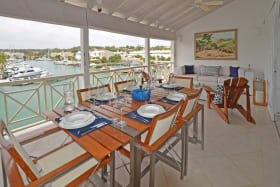 Dining veranda has great sea and lagoon views