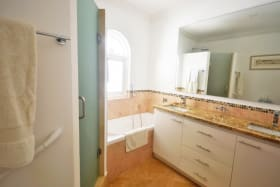 Bathroom with double vanity sink