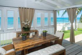 Dining deck overlook garden and sea