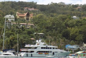 Luxury Boat leaving Marigot Bay