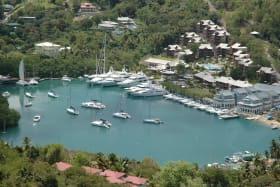 Large Vessels Near Marigot Bay Village