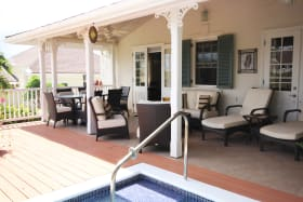 View of patio with sparkling plunge pool