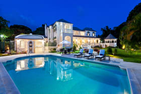 Rear exterior - poolside in the evening