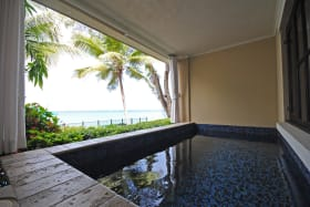 Private plunge pool has sea views