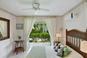 Cottage bedroom with garden terrace