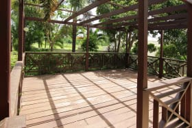 Outdoor wooden deck great for entertaining