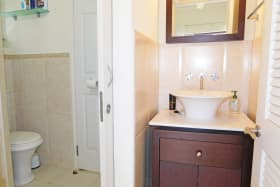 Bathroom accessible from the bedroom and living area