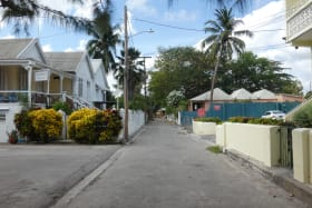 Streetscape and quick walk to Gorgeous Beach and Caribbean Sea