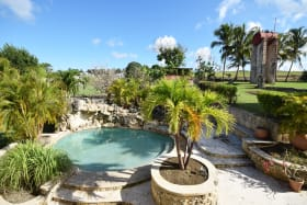 Pool with waterfall feature
