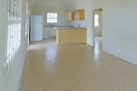 Open plan kitchen adjoins living/dining area