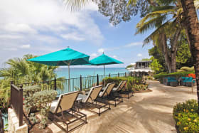 Ocean front pool terrace at Sandy Cove