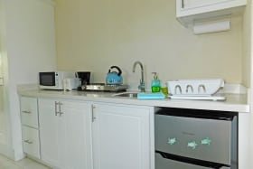 Kitchenette with mini fridge and hot plate