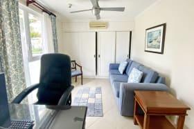 Guest room set as study with en suite bathroom