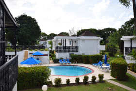 View from apartment of shared pool