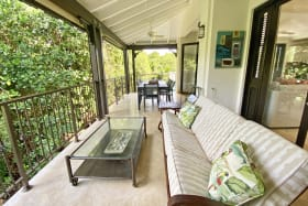 Large first floor terrace with outdoor dining and living