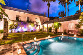 Beautiful courtyard with pool at twighlight