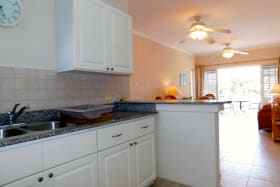 Kitchen opens on to living/dining/patio