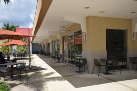 Outside seating in the Food Court