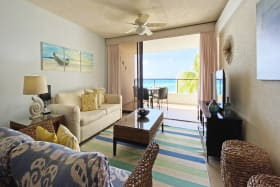 Living area with views of sea