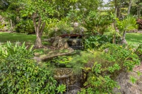 Picturesque fishponds with gently cascading waterfalls and a handcrafted bridge